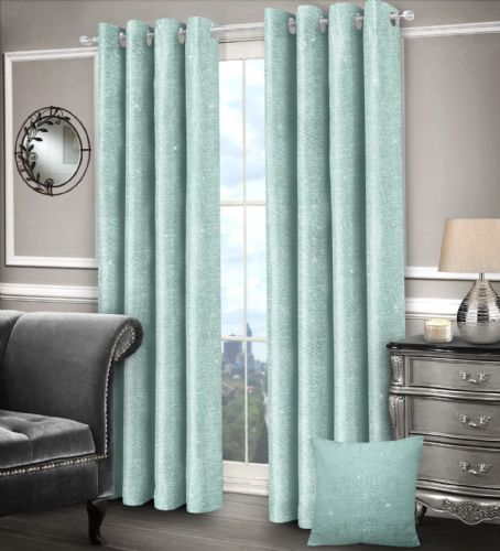 DUCK EGG GLAM SPARKLE DESIGN LINED RINGTOP EYELET STYLISH SHIMMER LUXURY MODERN CURTAINS